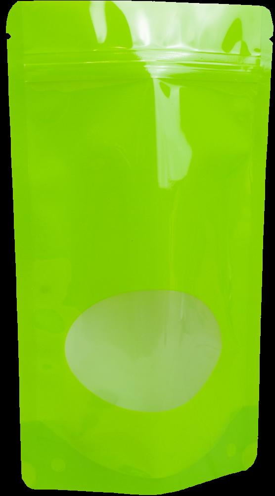 Doypack grün+Fenster mit Druckverschluss 160x270+80mm