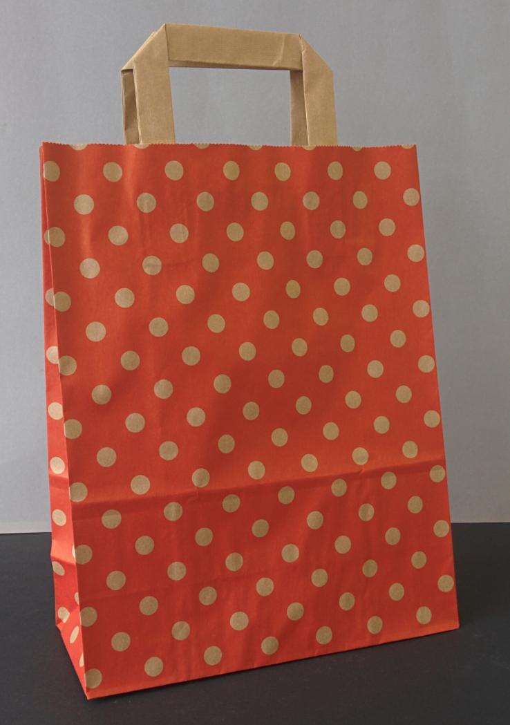 Restposten bunte papiertragetaschen rot mit braunen for Restposten dekoartikel